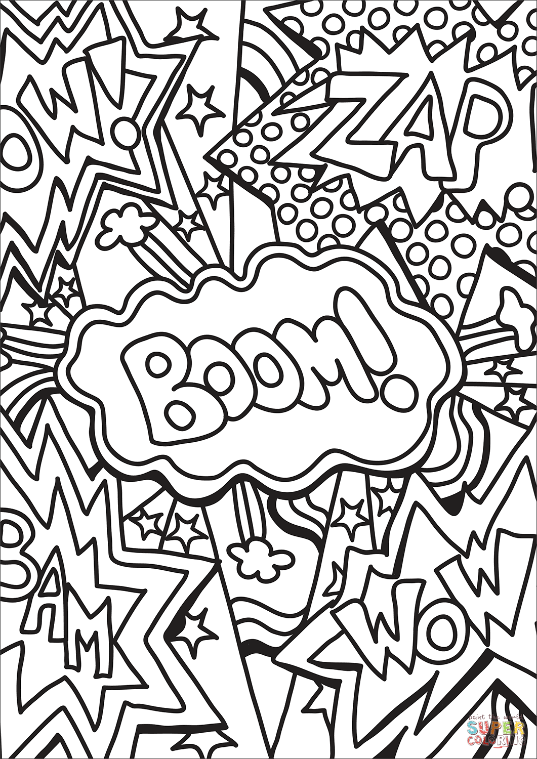 Zap Boom Wow Coloring Page Free Printable Coloring Pages Pop Art Coloring Pages Coloring Pages Free Printable Coloring Pages