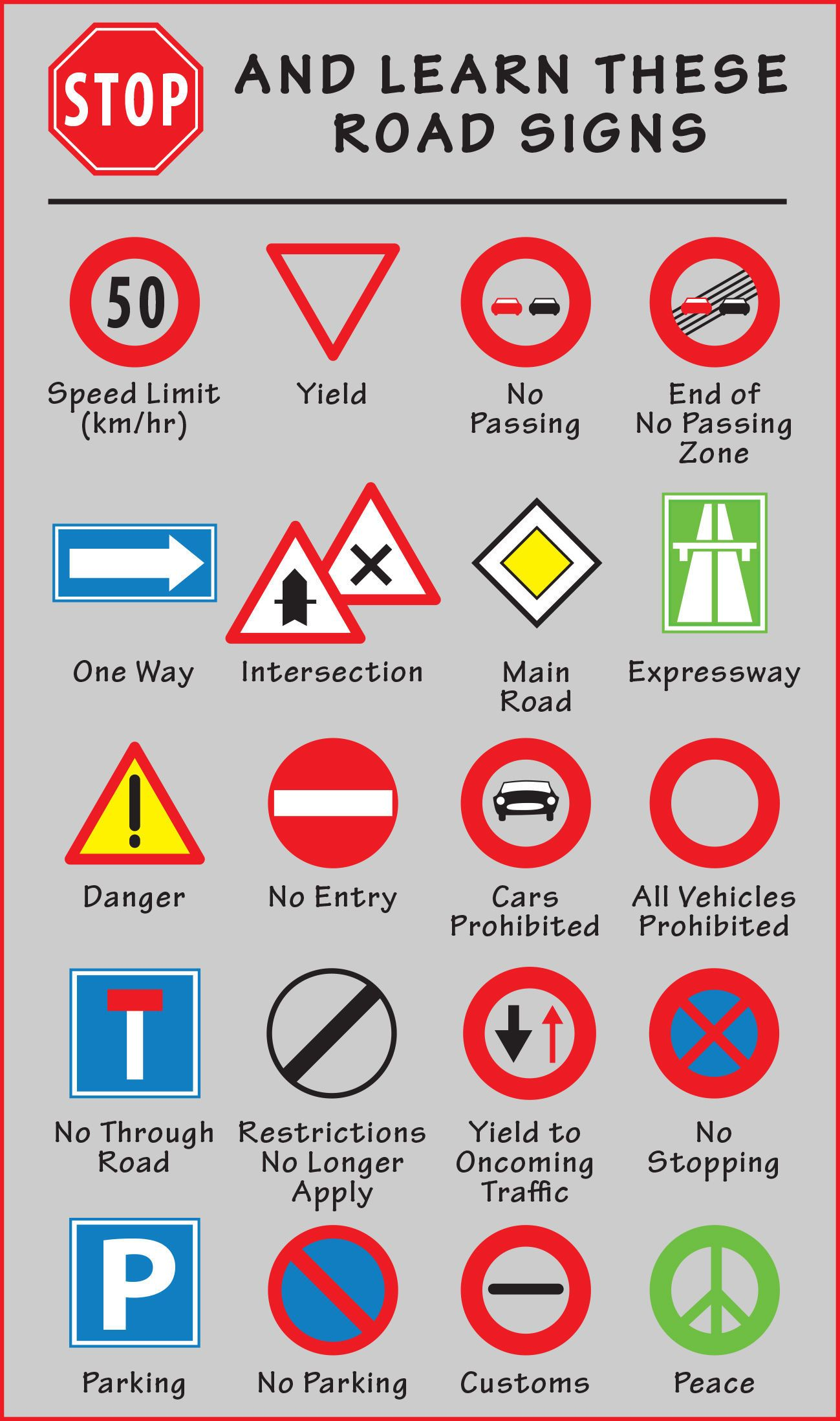 Road signs, Road rules, Driving tips