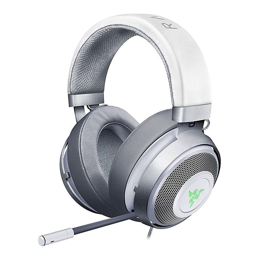 Razer Kraken 7 1 Chroma V2 Usb Gaming Headset With Retractable Digital Microphone And Chroma Lighting Mercury White Gaming Headset Headset Gaming Headphones