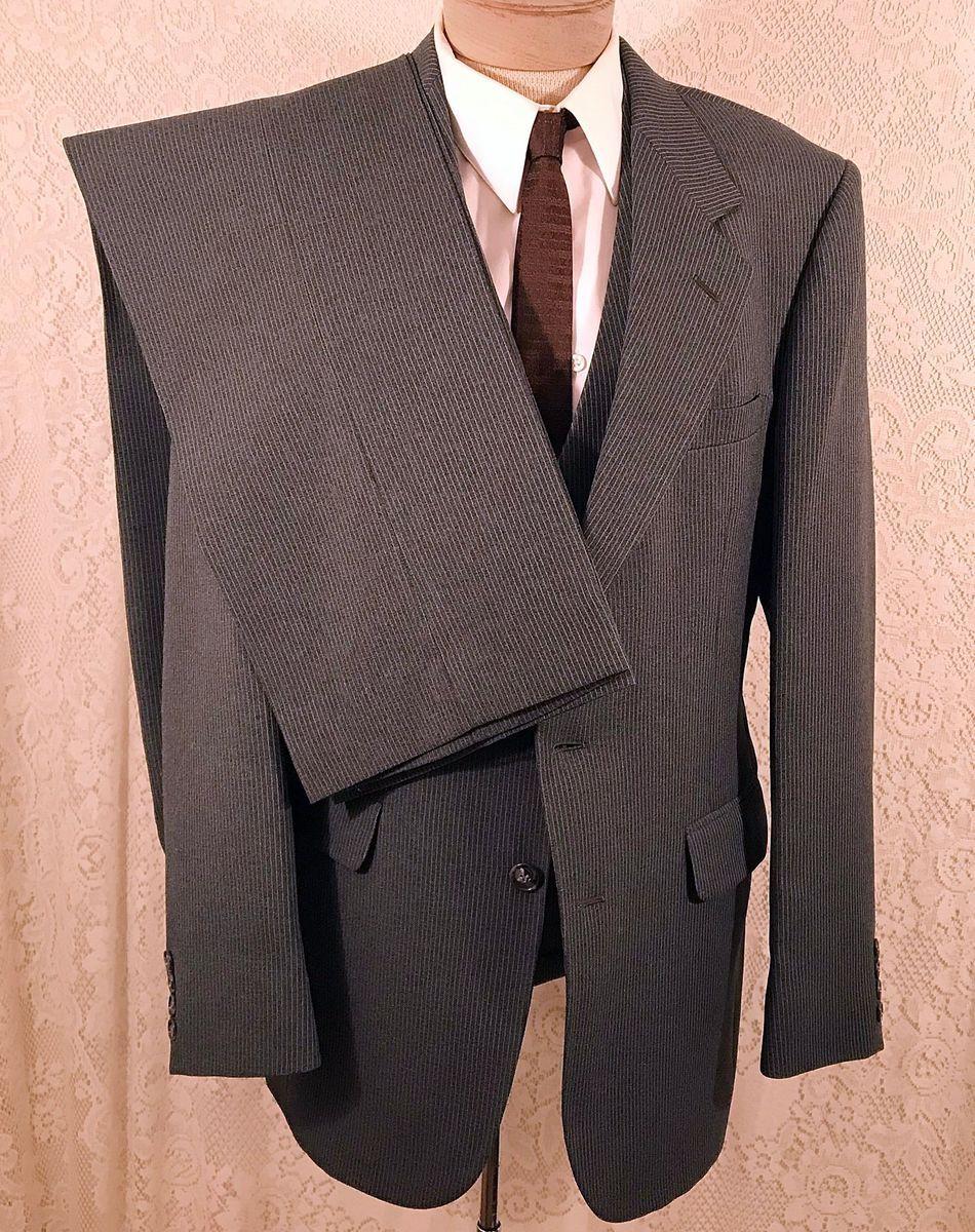 6f06976b43f8db 70s Men's 3 pc Gray Pinstripe Suit by Austin Hill Size 38 - The Elegance Of  Shamae