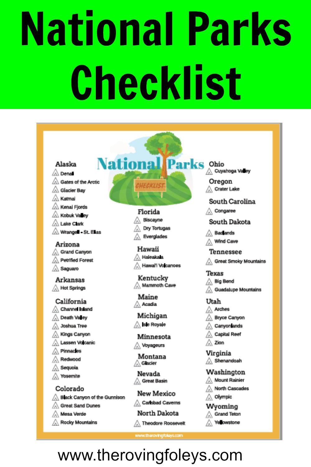 photo relating to Printable National Park Checklist referred to as Nationwide Parks List (No cost Printable within 2019 Tenting
