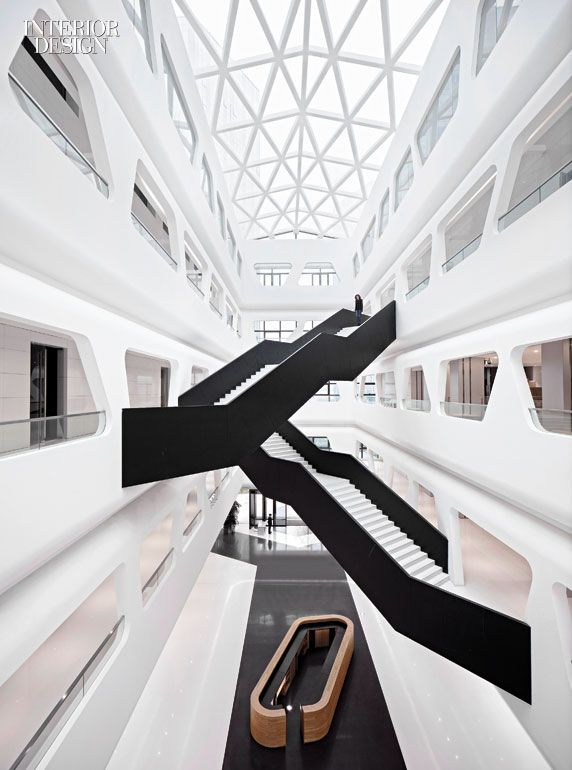 cp  estair balustrades in blackened steel contrast with steps quartz composite photography also hallucinate design office dreams up the interiors at china   maike rh pinterest