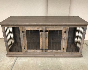 Custom Double Dog Kennel Crate Furniture - Hinged Coffee or Entry Table -  TV Stand -