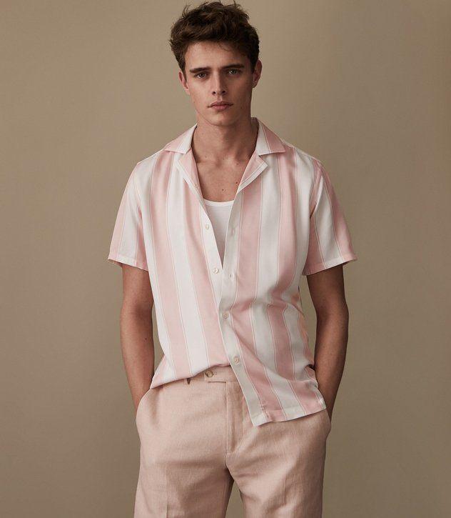594551e2cb Mens CUBAN COLLAR STRIPED SHIRT - REISS VISTA | Outfits/Hairstyles ...