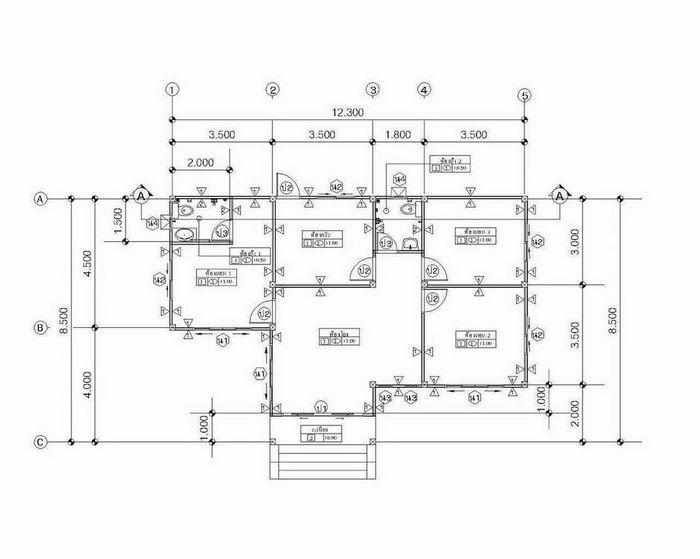 แบบบ านช นเด ยวแนวร วมสม ย หล งคาทรงป นหยา 3 ห องนอน 2 ห องน ำ งบประมาณ 8 แสนปลายๆ Naibann Com Affordable House Plans House Plans Simple House Plans