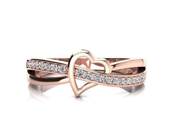 Heart Ring Rose Gold Heart Ring Open Heart by AlexanderSparkss
