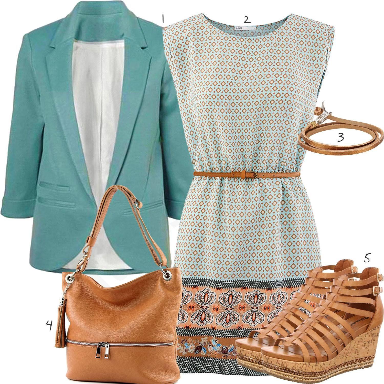 Fruhlingsoutfit Mit Kleid Blazer Und Lederarmband Outfits4you De Outfit Kleider Kleidung