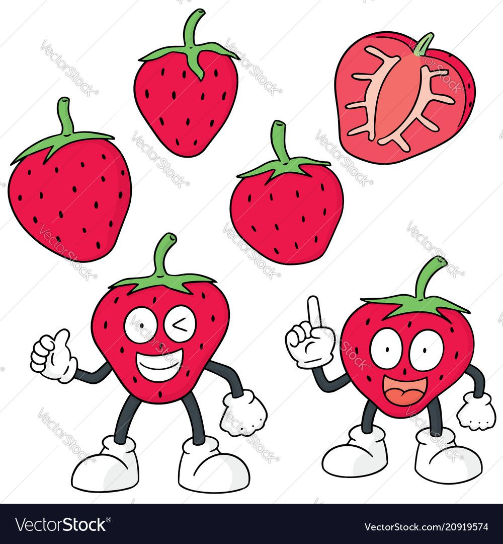 Set of strawberry vector image on VectorStock Vector