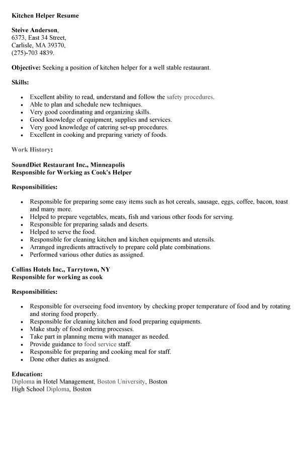 Resume Helper Beauteous For Kitchen Helper  Pinterest  Resume Helper Kitchen Helper And