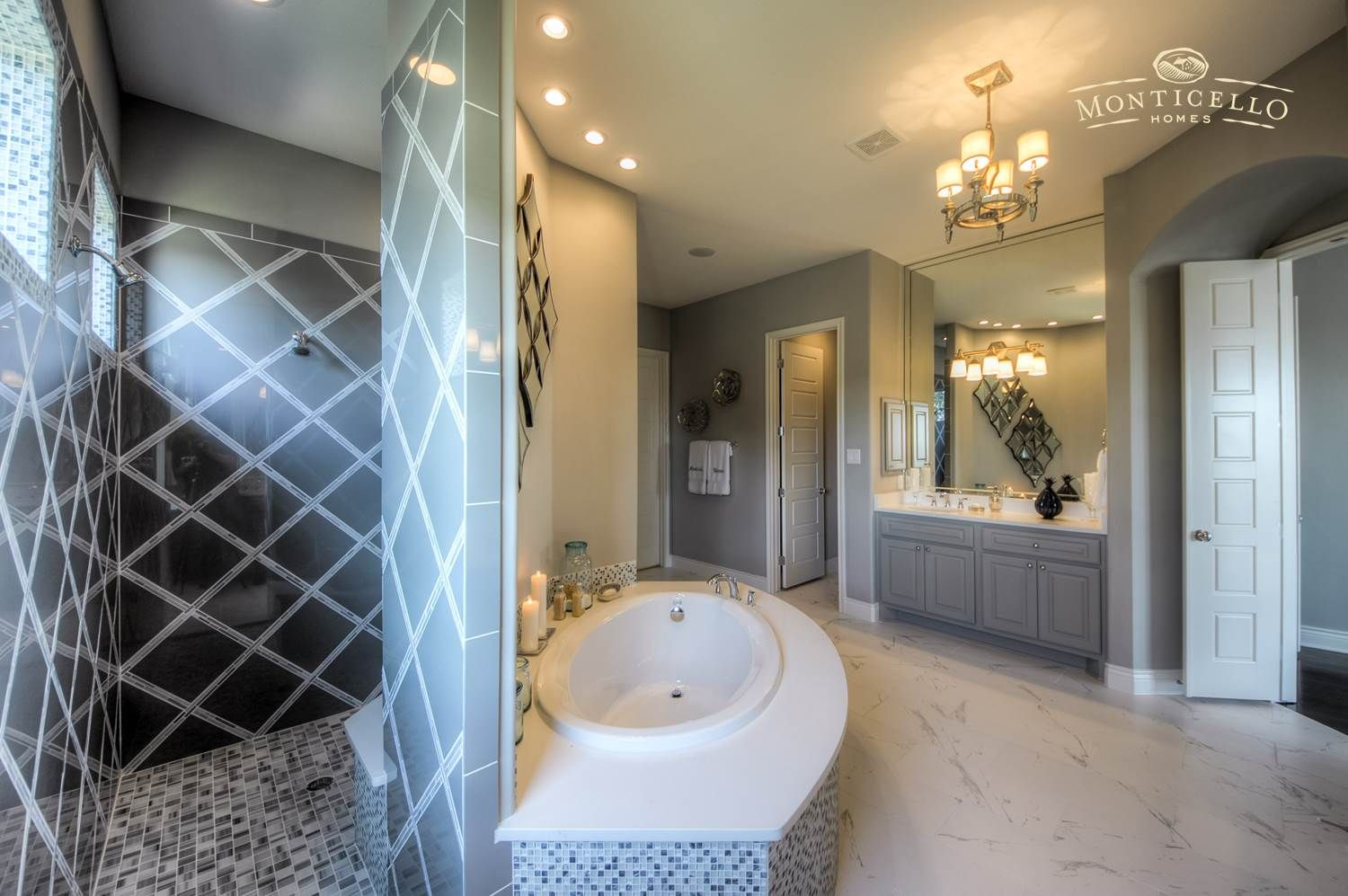 Spa Master Bath With Walk Through Shower Garden Tub And