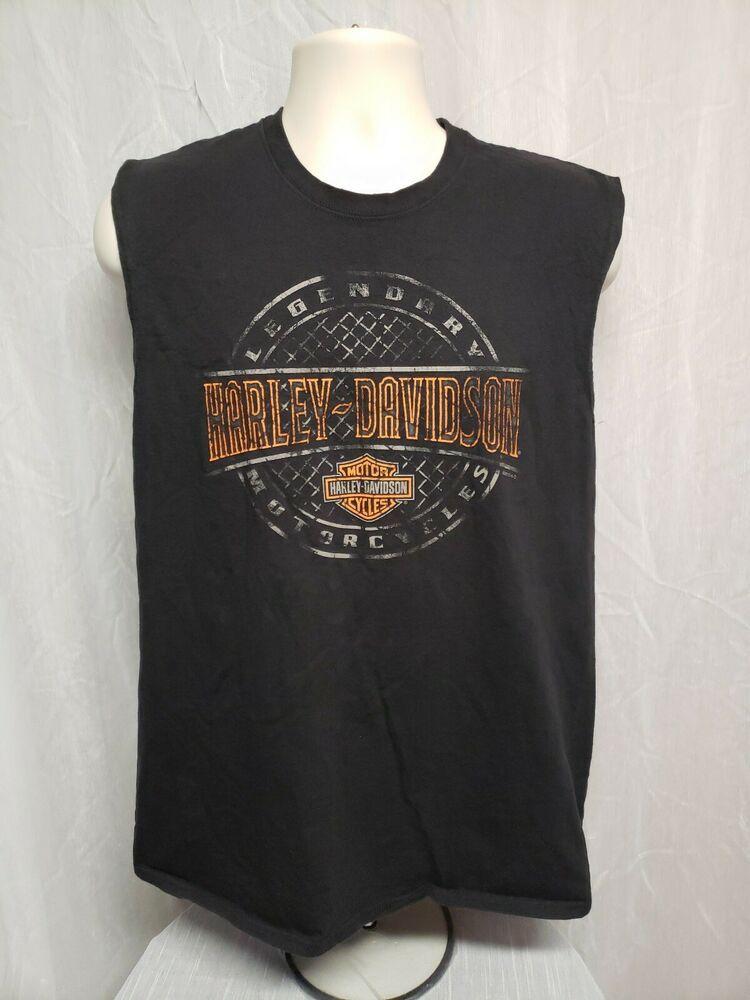 Harley Davidson Motor Cycles Hudson Valley Mens Medium Black Sleeveless TShirt