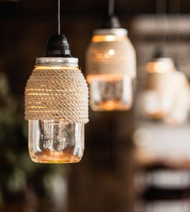 lampe design avec des bocaux en verre 20 id es pour vous inspirer diy r cup bricolage. Black Bedroom Furniture Sets. Home Design Ideas