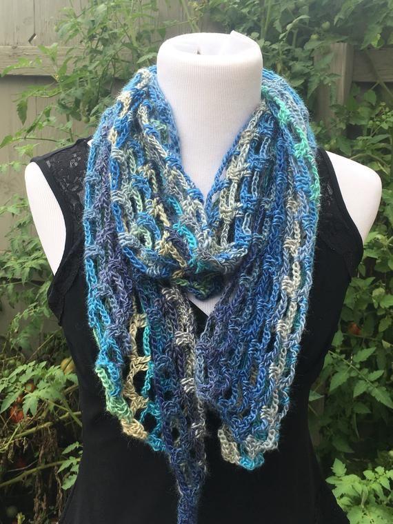 Multi Color Knit Scarf Handmade Crochet Scarf Open Weave Crochet