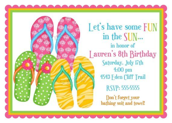 Flip Flop Invitations, Flip Flops, Summer, Pool Party, Beach ...