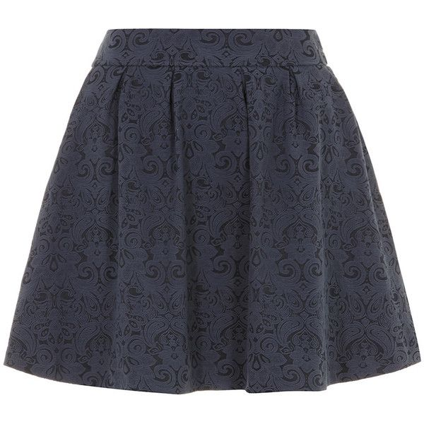 Dorothy Perkins Blue jacquard skater skirt (265 MXN) ❤ liked on Polyvore featuring skirts, bottoms, faldas, blue, blue skater skirt, stretchy skirts, knee length skater skirt, circle skater skirt and flared skater skirt