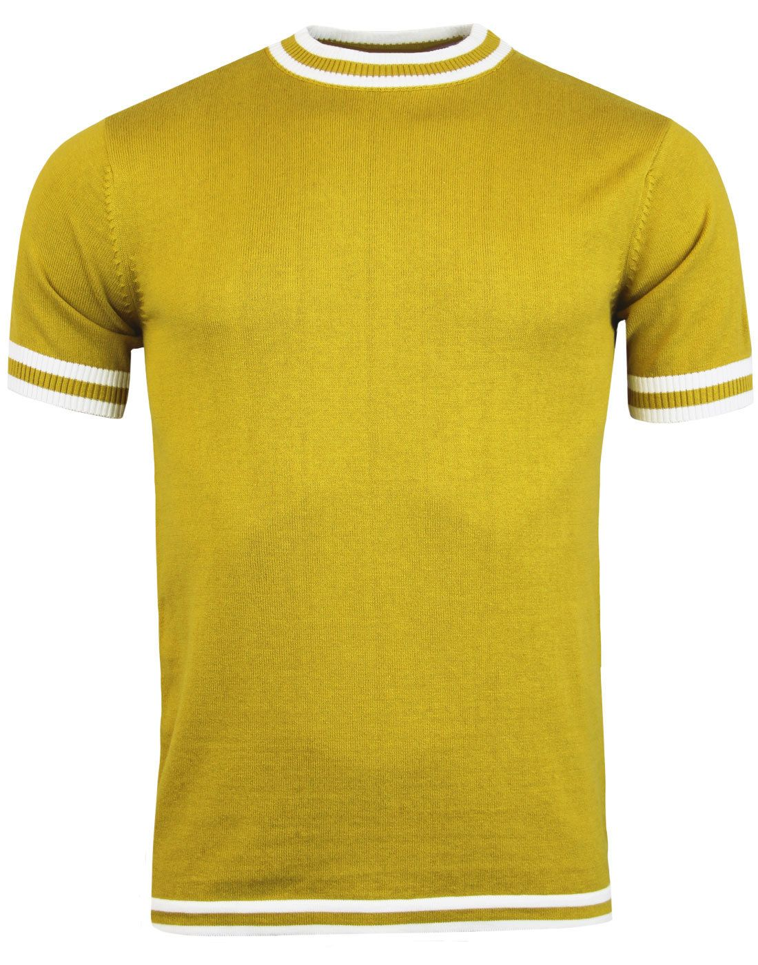 d28f31e804ba1 Madcap England  Moon  men s 60s mod knitted T-shirt in honey mustard. -  Retro white tipping to th