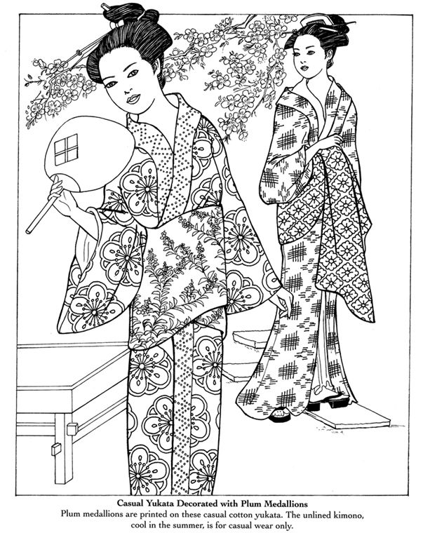 coloring pages a yukata is a japanese garment a casual summer kimono usually made of cotton or