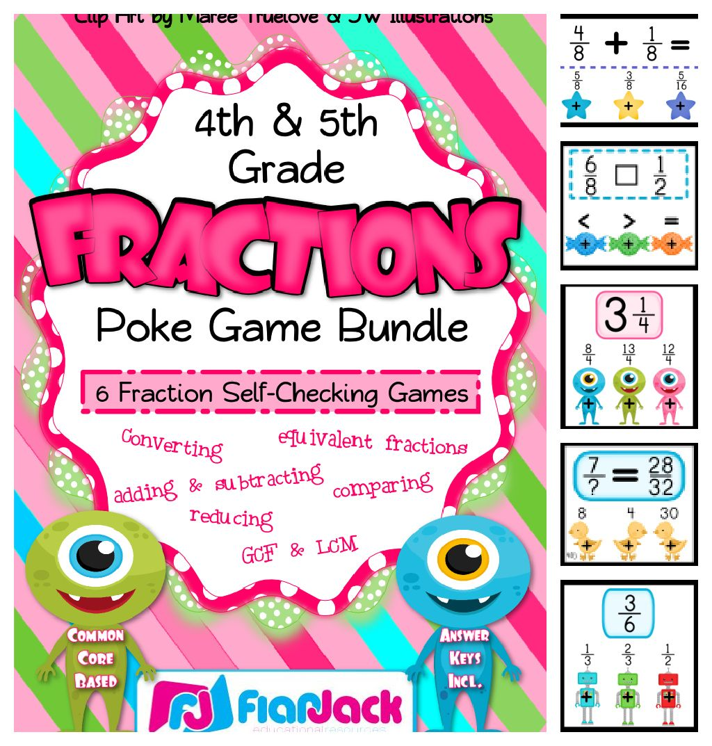 4th 5th Fraction Centers Poke Game Bundle Common Core