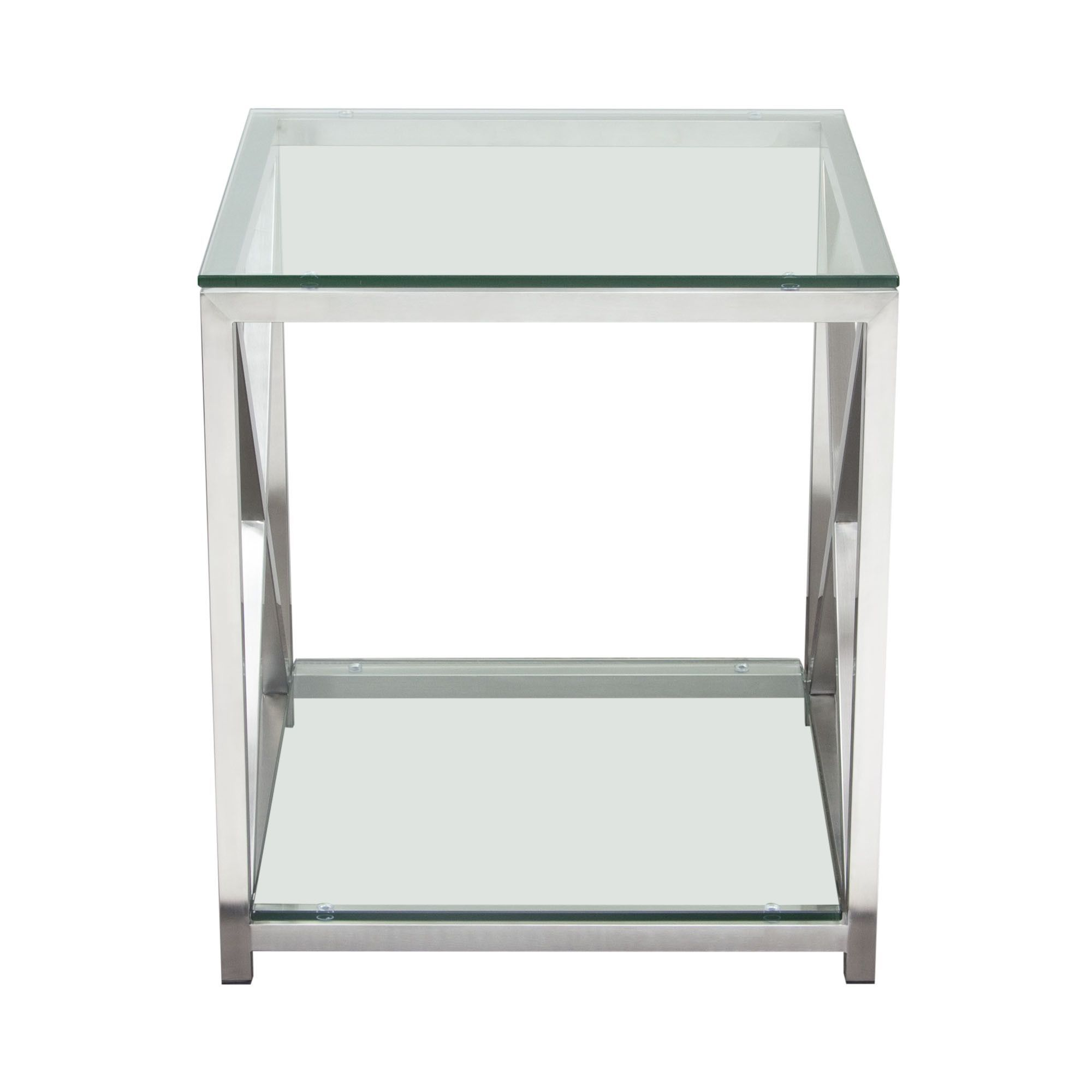 X Factor End Table With Clear Glass Top Shelf With Brushed  # Muebles Tonala Contemporaneos