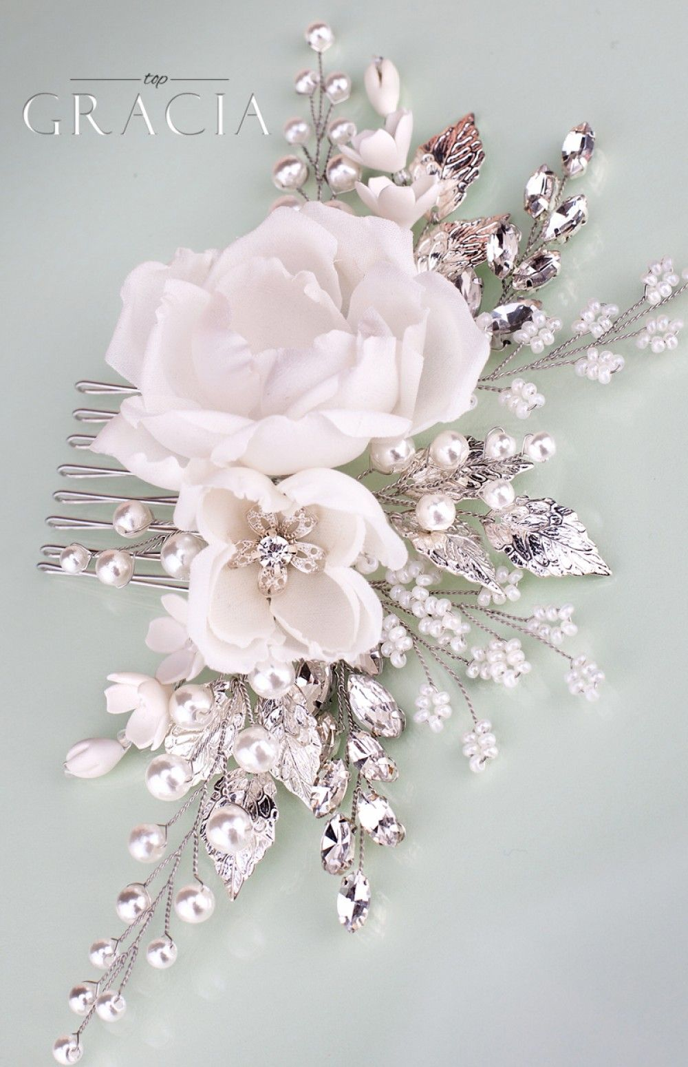 Rose floral hair accessories white bridal hair flower comb with