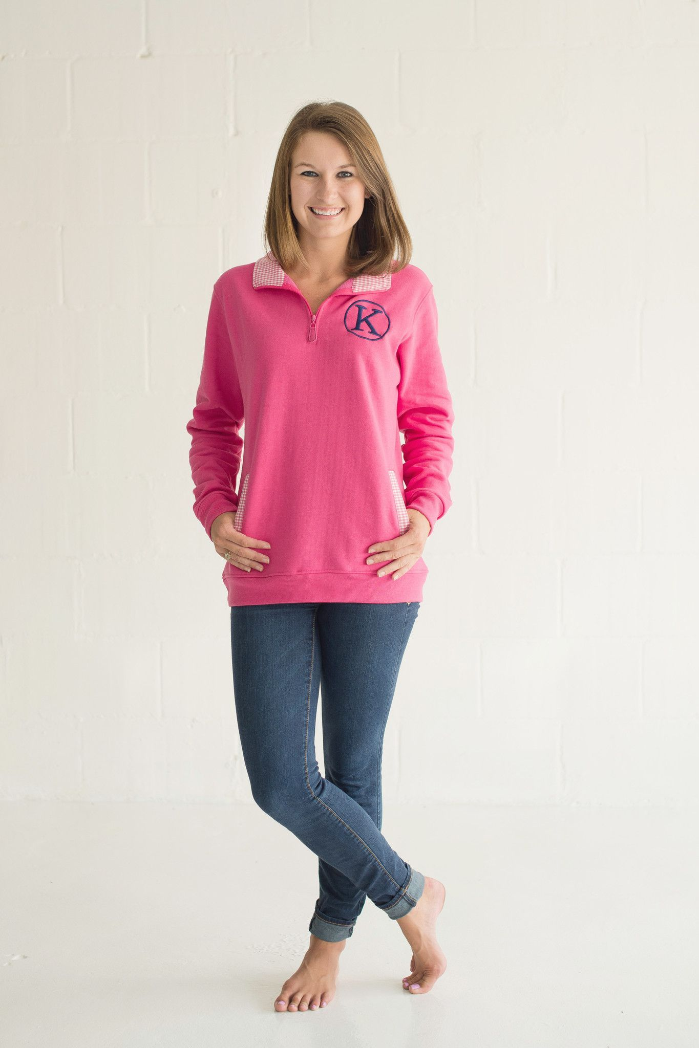 Pink & White Gingham Pullover