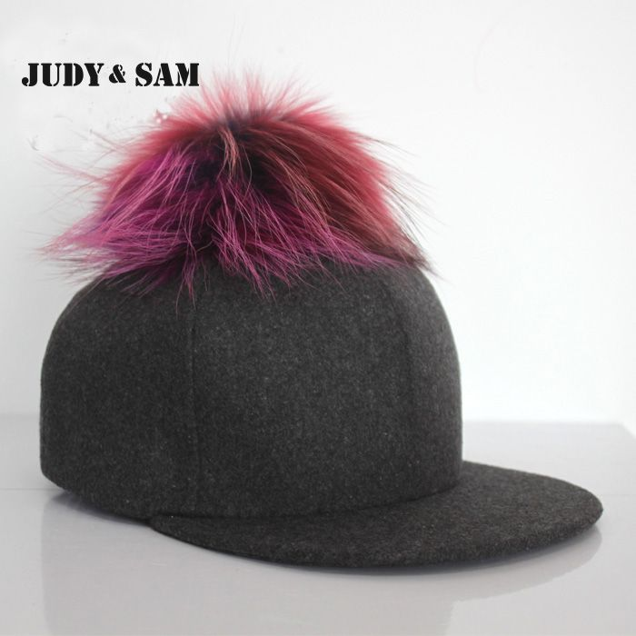 New Brand Fur Ball Baseball Cap Women Real Rainbow Colorful Raccoon ...