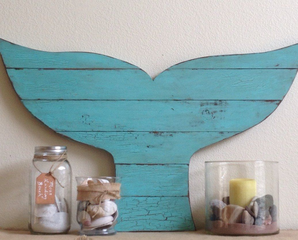 pallet style whale tail large rustic beach decor reclaimed wood - Beach Decorations