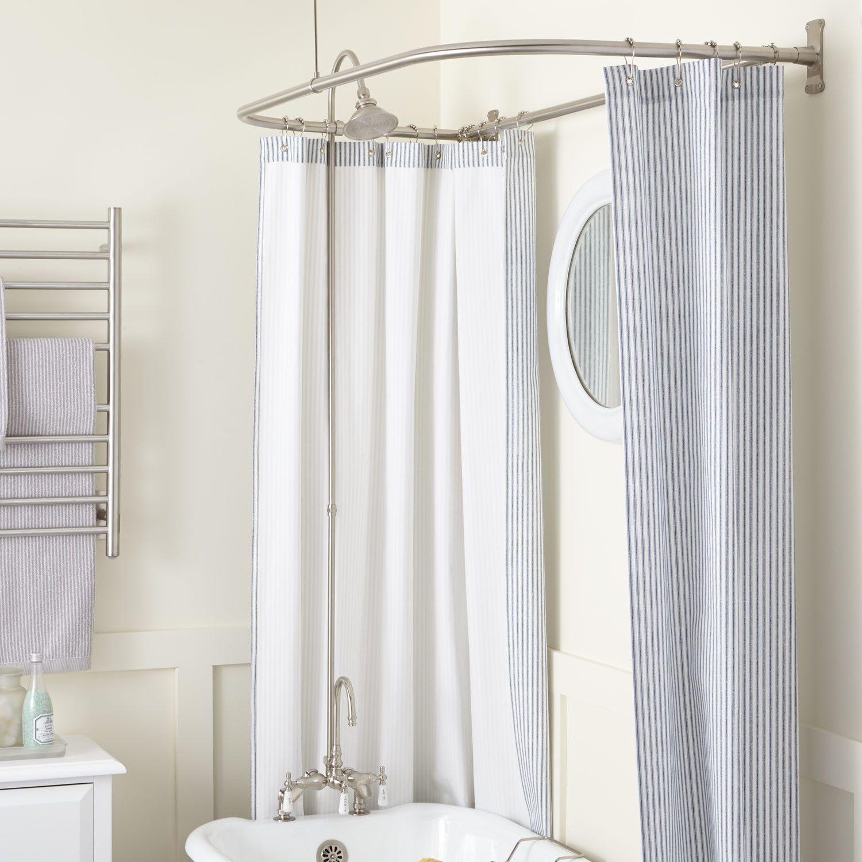 Gooseneck Rim Mount Tub Shower Kit Swing Arms D Style Shower