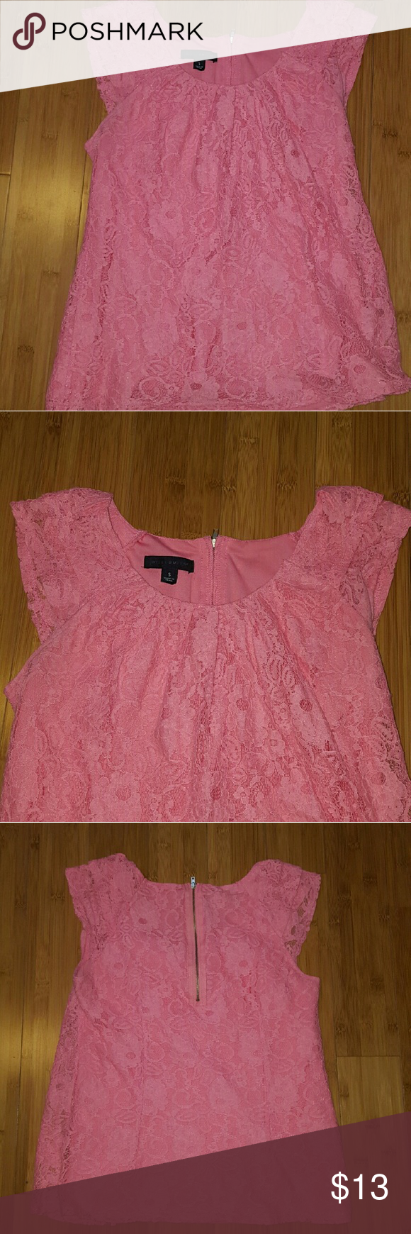 Pink lace top! So cute!! Good condition top! Look at the shoulders not sure what design thats called but it sits on the shoulder. Also its a scoop neck. No model sorry! It a normal length for a top, super cute for the spring time! True to size.  Smoke free home!  Will hand wash before shipping since it's been in my closet.   A couple stringys that can be cut off otherwise the lace seems great as far as i can see!   Moving so i need to sell! Willi Smith Tops Blouses