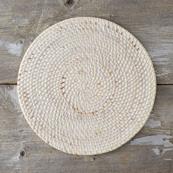 Whitewash Rattan Placemat ($24) ❤ Liked On Polyvore Featuring Home, Kitchen  U0026 Dining