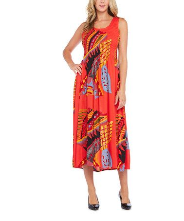 Loving this Coral & Gold Abstract Maxi Dress - Plus on #zulily! #zulilyfinds