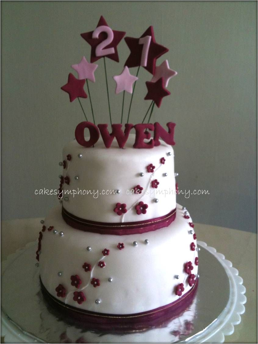 pic of 2 layered 12 year birthday cakes Twotier 21st Birthday
