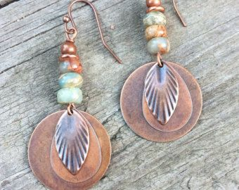 Photo of Burnt Orange Earrings, Bohemian Copper Jewelry, Ethnic Copper Earrings