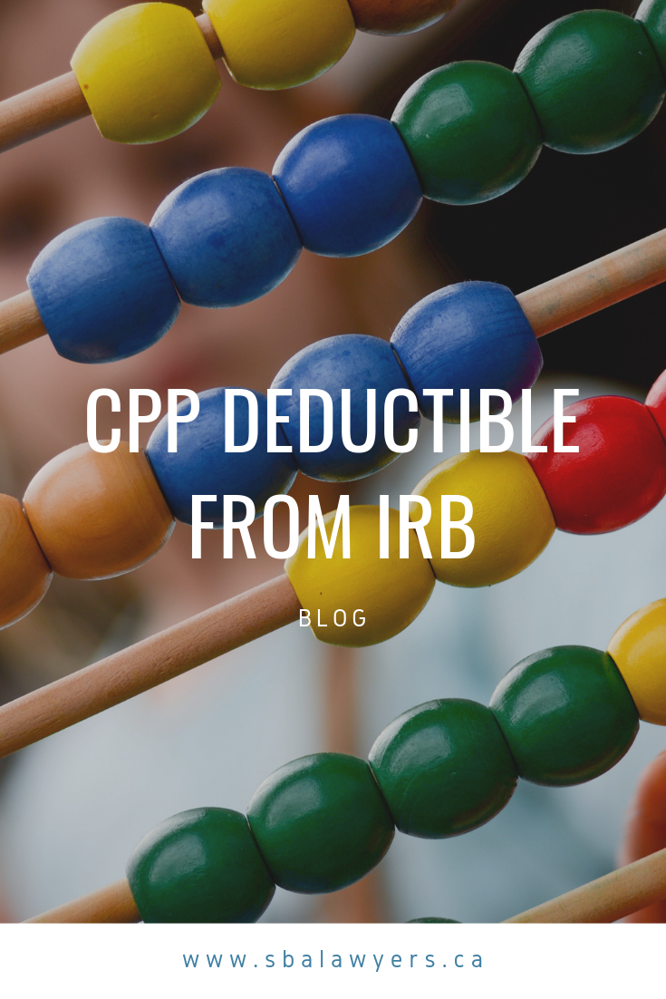 New Case Cpp Deductible From Irb Disability Benefit Deduction