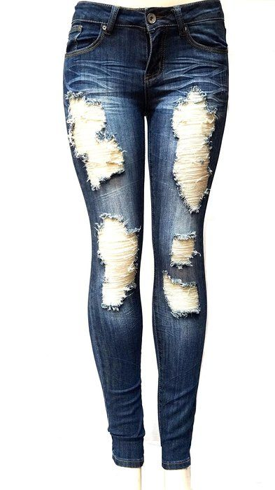517a58155e7 ETERNO Juniors WOMENS BLUE Denim JEANS Destroy Skinny Ripped Distressed  Pants (5)
