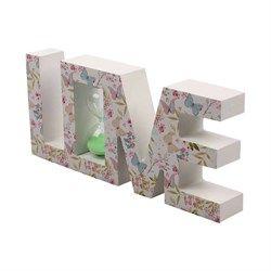 Ahşap Love Kum Saati Kelebek Desenli