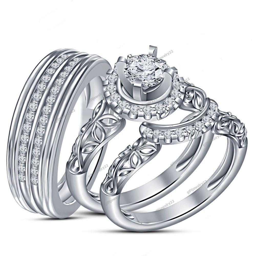 10k white gold diamond trio set matching engagement ring