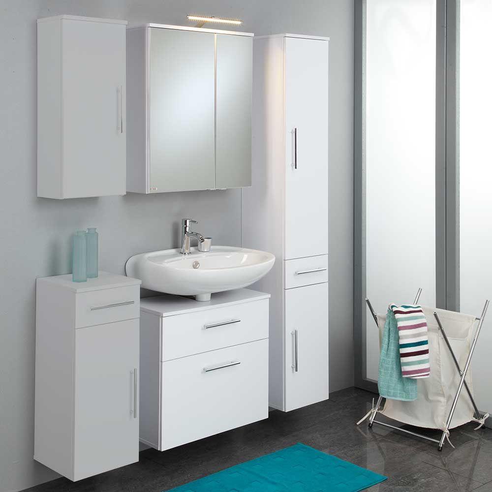 Badmöbel Komplettset in Weiß Spiegelschrank und Beleuchtung (3 ...