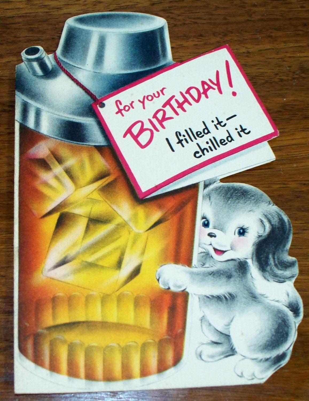 Vintage Birthday Card Mid Century Ephemera Cocktail Shaker W Puppy