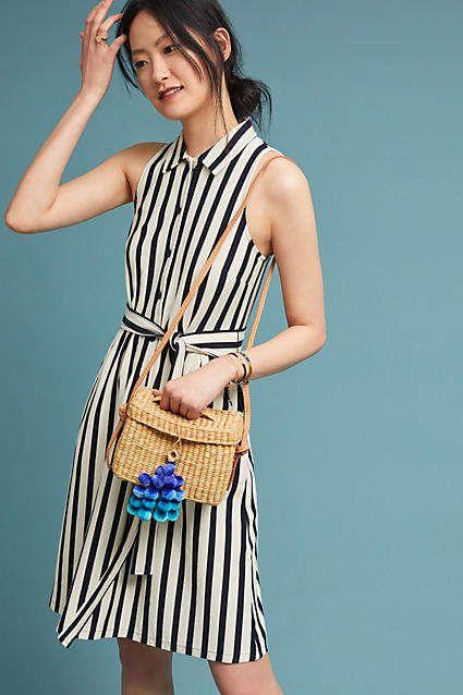 b2c0fb8e0e7 Maeve Nautical Shirtdress  anthropologie Striped sleeveless summer dress  navy stripes - cute casual dress!