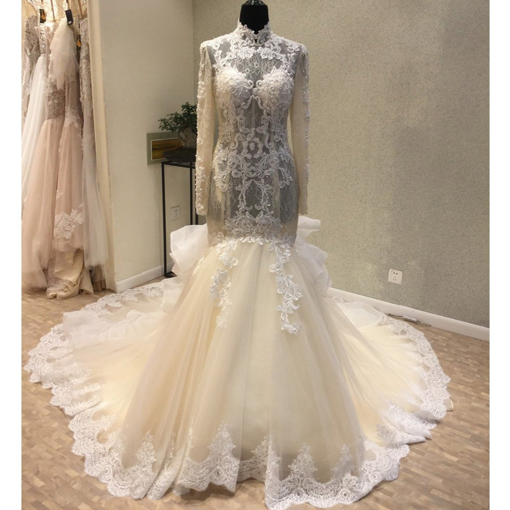 Gorgeous Long Sleeves High Neck Mermaid Long Wedding Dresses Wg1223 Wish Gown Long Wedding Dresses Wedding Dresses Designer Wedding Dresses [ 1024 x 1024 Pixel ]
