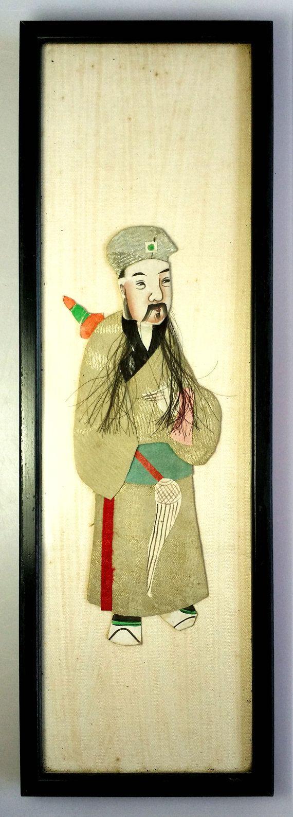 Chinese Male Elder Mixed Media Ancient Grey Costume Silk Fiber Wall ...