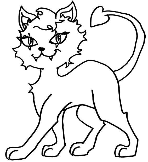 Monster High - Crescent - Clawdeen Wolfs Pet - Coloring Page ...