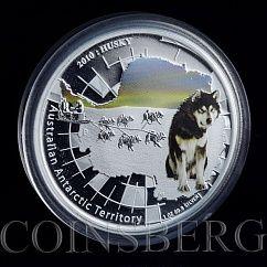 2010 ANTARCTIC SERIES HUSKY Silver Proof Coin