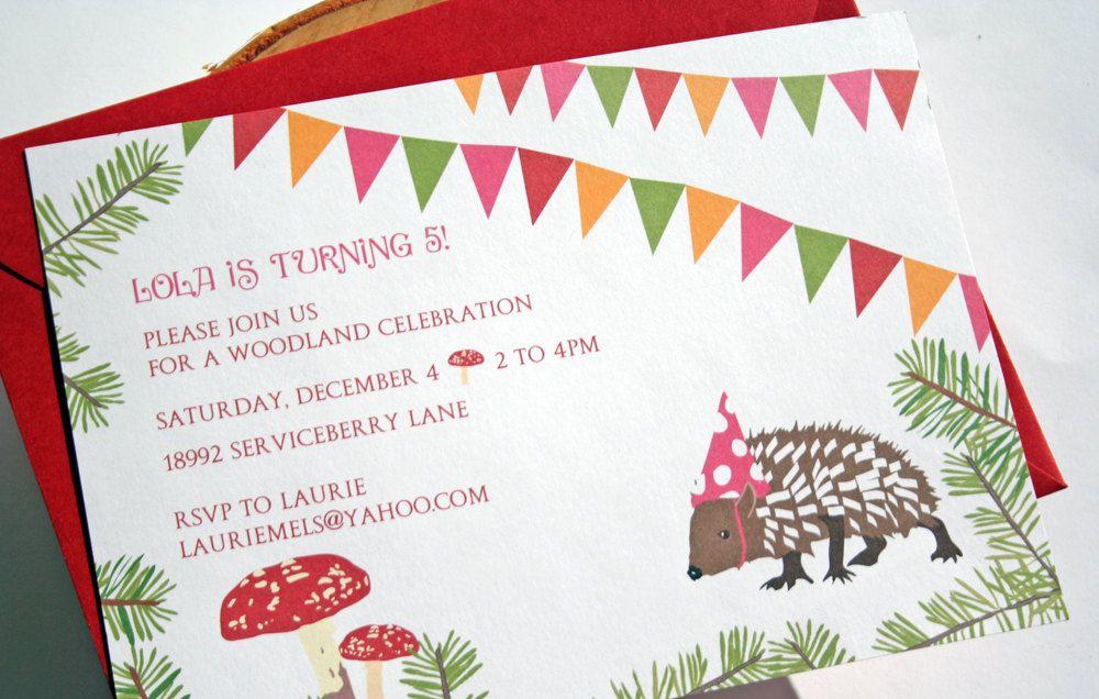 Woodland Party Invitations by deepbluesea on Etsy 2250 USD via
