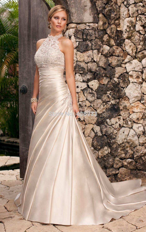 Halter neck white mermaid wedding dress custom made satin and lace