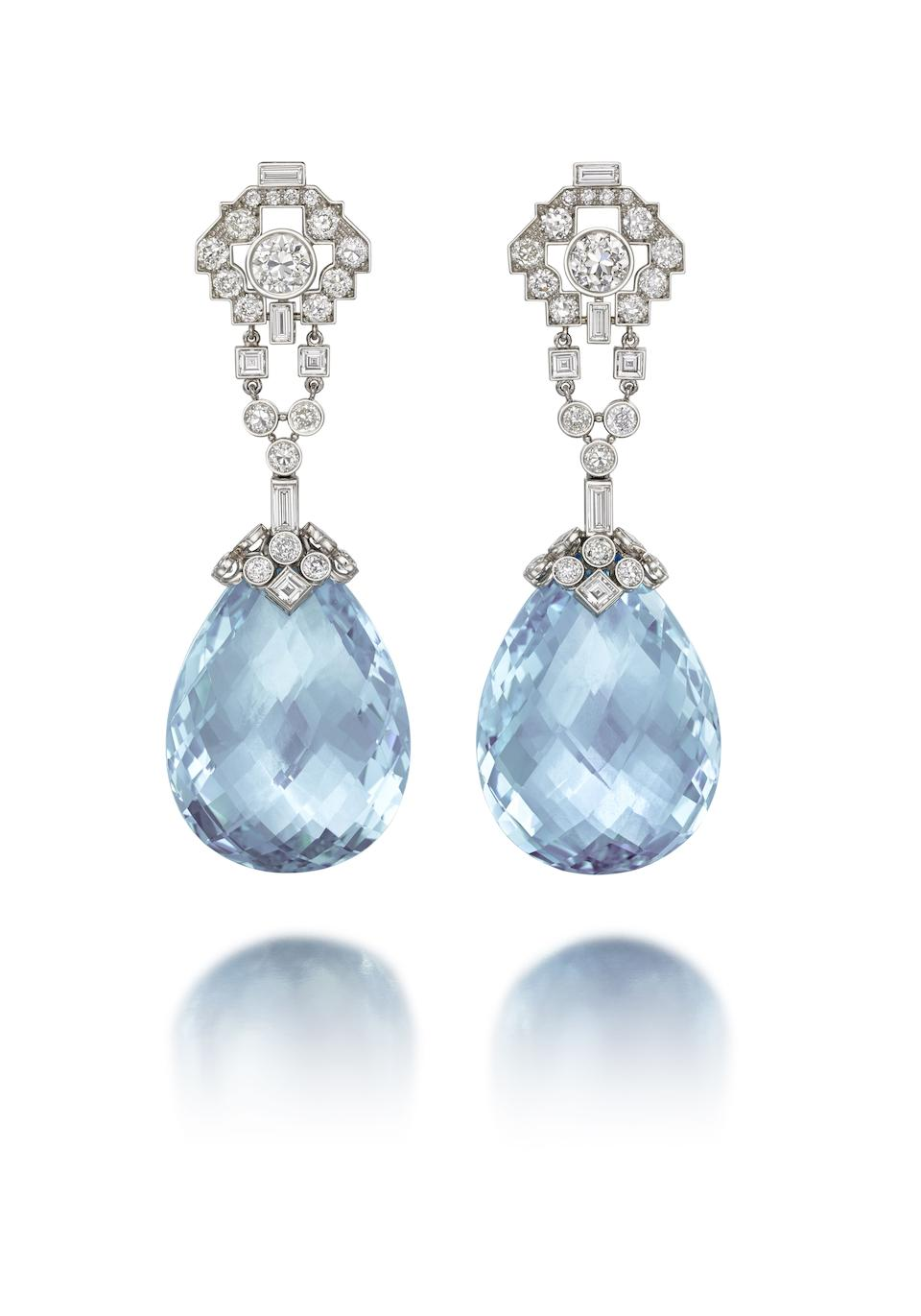 Photo of A pair of aquamarine and diamond pendent earrings, by Cartier,