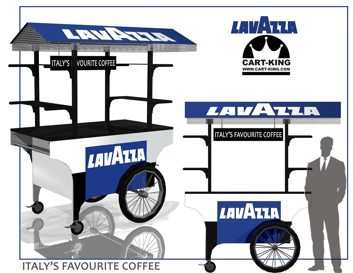 Lavazza coffee cart designed for indoor and outdoor use for Coffee cart design