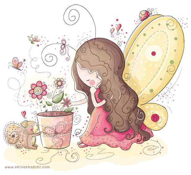 Illustrazione di bambini - Fairy Garden di ShivaIllustrations su Etsy https://www.etsy.com/it/listing/152324198/illustrazione-di-bambini-fairy-garden