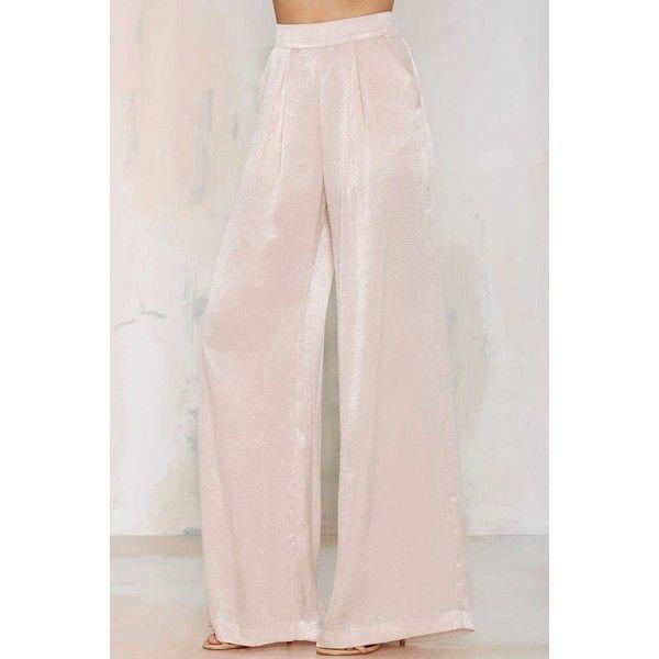 Nasty Gal Dramarama Wide Leg Pants ($39) ❤ liked on Polyvore featuring pants, pink pants, wide leg trousers, pleated wide leg pants, pleated pants and pink wide leg pants